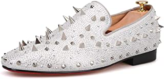 HI&HANN Spikes and Diamonds Mens Glitter Leather Shoes Slip-on Loafer Round Toes Smoking Slipper