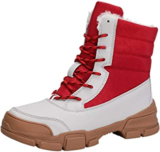 Women's Snow Boots Fashion Ankle Boots Chunky Flat Platform Booties Warm Lace-up Boot