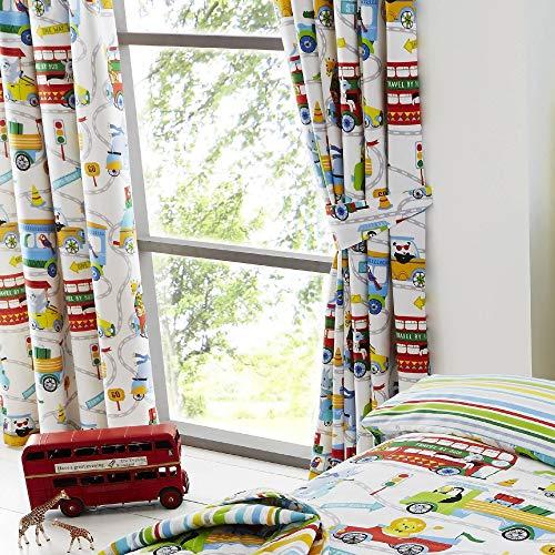 Set de cortinas infantiles de galón fruncido - Estampado con animales del zoo - Blanco - 168 x 183 cm