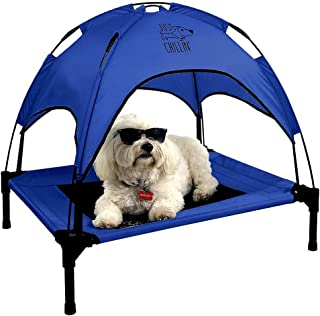 Floppy Dawg Just Chillin' Elevated Dog Bed. Medium and Large Size Dog Cots in a Variety of Colors. Removable Canopy. Used as an Indoor or Outdoor Dog Bed. Lightweight and Portable. Chill in Style. (Medium, Blue)
