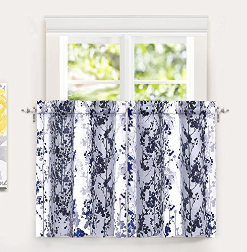 DriftAway Leah Abstract Floral Blossom Ink Painting Room Darkening Kitchen Tier Window Treatment 2 Panels Each Size 26 Inch by 36 Inch Plus 2 Inch Header Navy Gray
