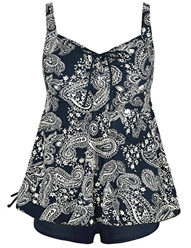 Septangle Women's Plus Size Two Piece Front Tie Ruched Paisley Print Swimsuit (Yellow,US 22)