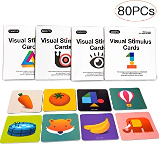 beiens High Contrast Baby Flashcard, 80 PCs 160 Page Black White Colorful Visual Stimulation Learning Activity Card for Babies Ages 0-36 Months, 5.5'' x 5.5'' Educational Newborn Infants Toys Gift