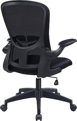 FelixKing オフィスチェア デスクチェア 疲れない椅子 メッシュ コンパクト 跳ね上げ式アームレスト ランバーサポート ロッキング機能 静音キャスター 360度回転 パソコンチェア 事務椅子 勉強椅子 ワークチェア 黒 black