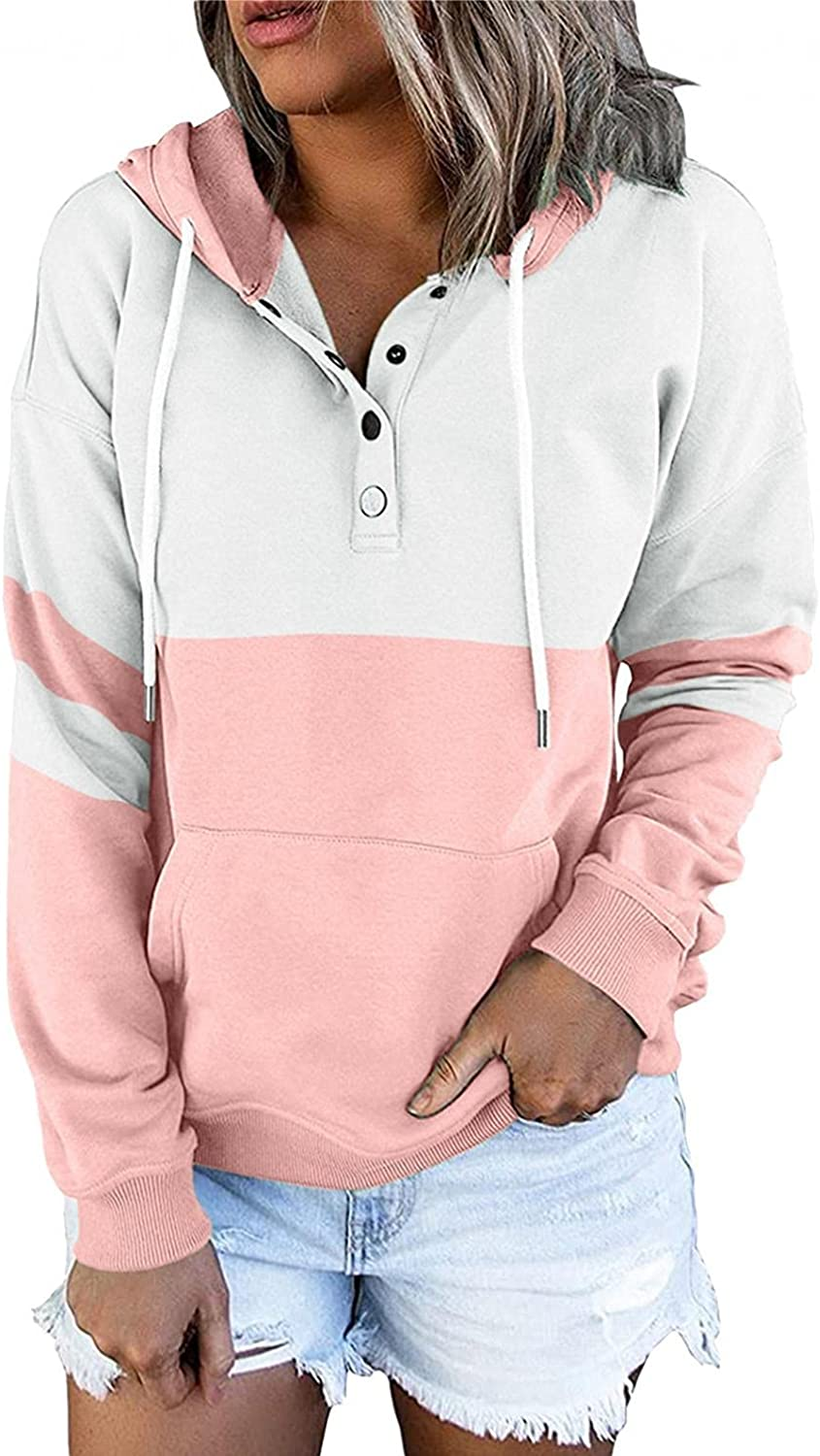 FACAIAFALO Pullover for Womens Button Down Hoodies Drawstring Hooded Pocket Casual Long Sleeve V Neck Sweatshirts