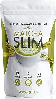 Matcha Slim - Energy Drink Mix Powder Supplement with Taurine & Spirulina 3.53oz – Natural, Sugar Free, Vitamin Rich Green...