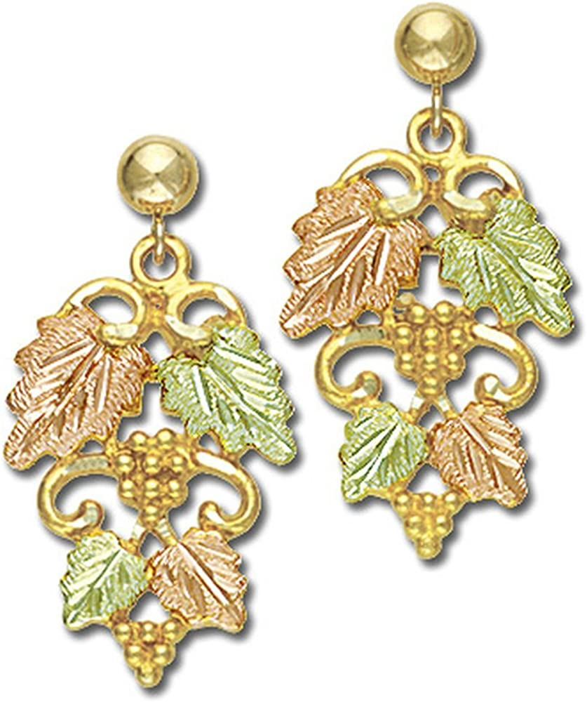 Landstroms 10k Black Hills Gold Earrings Detailed with Leaves and Grapes - G L01656
