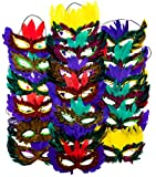 4E's Novelty 1 Dozen Fantasy Feather Masks 12 Assorted Styles, Masquerade Masks for Mardi Gras Costume Party Favors
