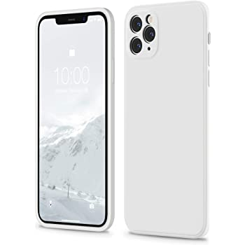 SURPHY Square Silicone Case Compatible with iPhone 11 Pro Max Case 6.5 inches, Square Edges Liquid Silicone Phone Case (Individual Protection for Each Lens) for iPhone 11 Pro Max (White)