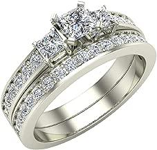 Diamond Wedding Rings Princess cut Bridal Set 14K Gold 1.06 carat tw Past Present Future Style (J, I1)