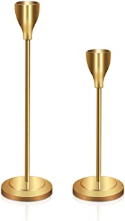 GiveU Set of 2, Wedding & Dinning Table Centerpieces Decorative Brass Candlestick Holder Metal Candelabra,Fits 3/4 inch Thick Candle & Led Candles, 6&8'',