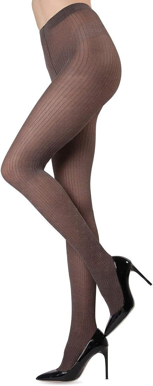 MeMoi Luxury Divas Black Ribbed Pinstripe Tights