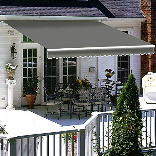 iropro DIY Patio Retractable Manual Awning, Garden Sun Shade Canopy Gazebo,...