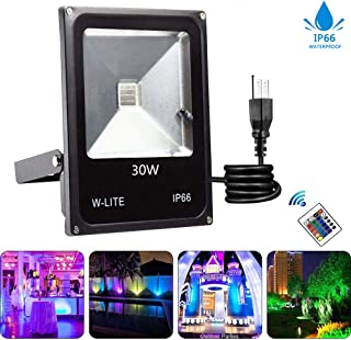 30W Remote Control RGB LED Flood Light,Dimmable Waterproof Wall Mount Flood Light with US 3-Plug 16Colors&4Modes,Color Changing for Outdoor Building,Construction,Plant,Lawn,Garden Decoration
