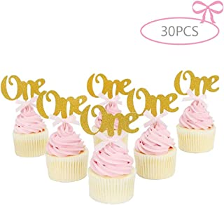 Stechop 30PCS Glitter Gold One Cupcake Topper Decorations - Pink Bow 1st Birthday Party Anniversary Decorations
