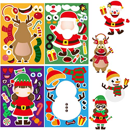 JOZON 24 Sheets Make A Christmas Stickers Christmas Party Games Make Your Own Christmas Stickers for Boys Girls Christmas Santa Snowman Reindeer Elf DIY Sticker Xmas Party Favors