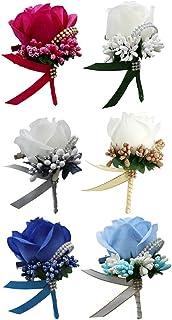 6X Boutonniere Bridegroom Groom Men's Groomsmen Best Man Boutineer with Pin Artificial Flower Brooch Corsage for Wedding H...