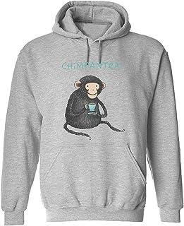 CCANE7 Men's Sudadera con Capucha Personalizada Chimpantea Drinking Tea Divertido gráfico Sudadera con Capucha