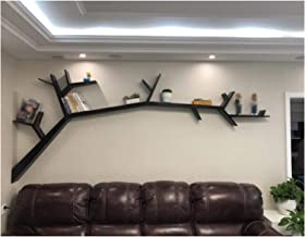 LIANGJUN Wall-mounted Shelves Solid Wood Living Room Storage Books Tree Shape, Length 120cm / 150cm (Size : Black-Length15...
