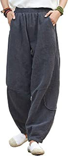 IXIMO Women's Cotton Linen Pants Casual Patchwork Pull On Trousers with Pockets