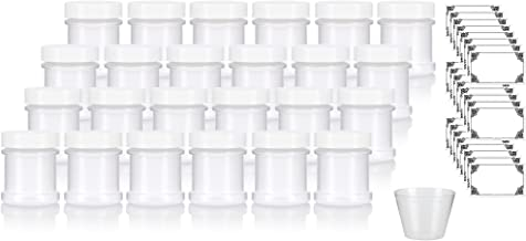 Natural Spice Sifter Jar with Airtight White Lids holds 1 oz / 30 ml / 28 grams each (24 pack) + Labels and Measuring Cup