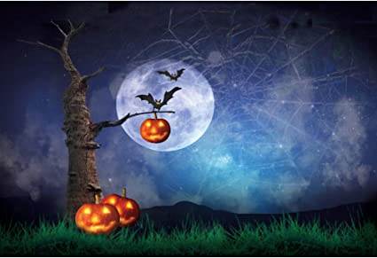 DASHAN 5x3ft Polyester Horrible Halloween Backdrop Scary Ghost Graveyard Witch Wizard Sorcerer Theme Halloween Photography Background Pumpkin Lamp Misty Creepy Haunted Castle Halloween Photo Props