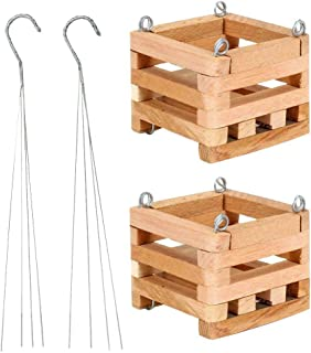 4 in Wooden Square Basket with Hanger (2-Pack)