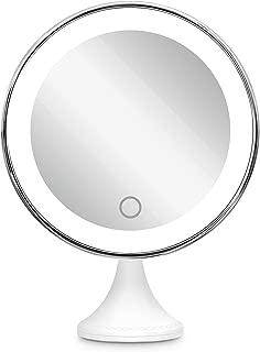 10倍拡大鏡 BEQOOL LED化粧鏡 化粧 拡大鏡 浴室鏡 女優ミラー 卓上鏡 壁掛けメイクミラー 吸着力が強いシリカゲル台座付き LEDの明るさと色調節でき 360度回転 単四電池&USB給電対応 ホワイト