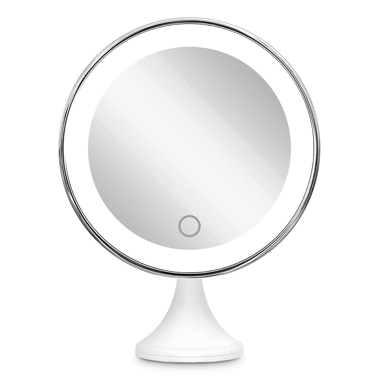 ほうき不純気がついて10倍拡大鏡 BEQOOL LED化粧鏡 化粧 拡大鏡 浴室鏡 女優ミラー 卓上鏡 壁掛けメイクミラー 吸着力が強いシリカゲル台座付き LEDの明るさと色調節でき 360度回転 単四電池&USB給電対応 ホワイト