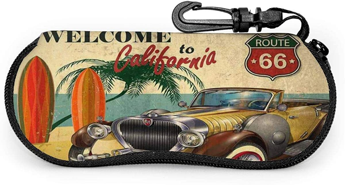 Welcome To California Retro Poster With Route 66 Sunglasses Soft Case Ultra Light Neoprene Zipper Eyeglass Case With Key Chain