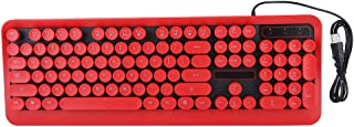 Tosuny Game Keyboard, Retro Round Fashion Design,104 Key Rainbow Wired Backlight Keyboard with Noise Reduction,Ergonomic Design,Feeling Comfortabl,for PC, Laptop,Computer Game(Red No Light)