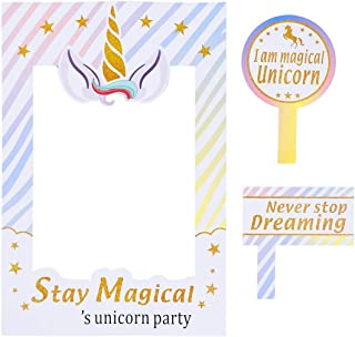 Party Avenue Unicorn Photo Props Frame | Magical Unicorn Photo Frame | Rainbow Birthday Party Supplies Decorations | Unicorn Photo Booth Props | Unicorn Birthday Party Favor