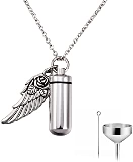 Cat Eye Jewels Memorial Cremation Necklace Keepsake Angel Wing Heart Pendant Ash Holder Urn Necklace for Ashes for Men Women with Funnel Kit