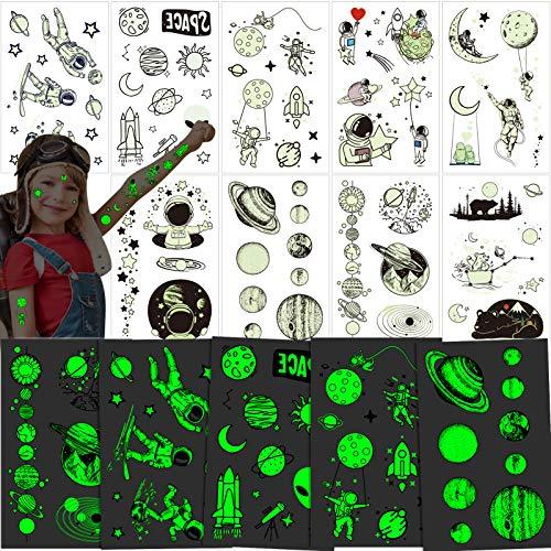 Qpout 9 Blatt Im Dunkeln Leuchten Temporäre Tattoos für Kinder, Leuchtendes Sonnensystem Universum Weltraum UFO Tattoo Aufkleber für Jungen Mädchen Geburtstag Party GeschenkDekoration Mitgebsel