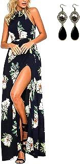 Mujer Vestido Fiesta Largo Sin Mangas de Escotado por Detrás Maxi Vestidos Boho Chic de Noche Playa Vacaciones