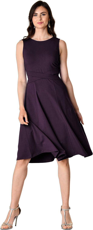 eShakti FX Cutout Back Cotton Knit Dress- Customizable Neckline, Sleeve & Length