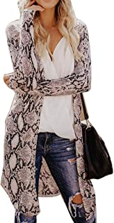 Women Casual Loose Cardigan Tops Leopard Print Long Sleeve Outwear Open Front Trench Camouflage Cardigans Coats