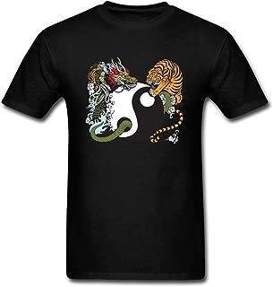 JustLikeSun Men's Yin Yang Symbol with Dragon and Tiger T Shirt