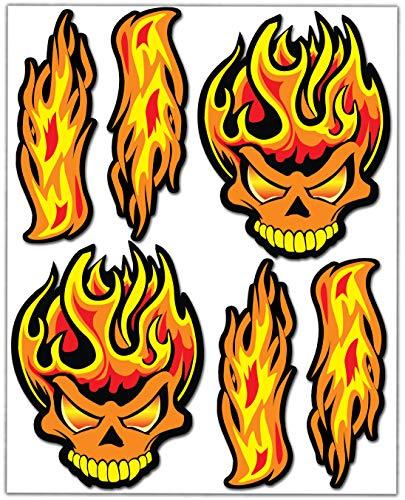 Biomar Labs Set de 6pcs Pegatina Cráneo Calavera Fuego Llamas Skull Fire Flames Vinilo Adhesivo para Motocicletas Coches Auto Moto Casco Scooter Ciclomotores Bicicletas Ordenador Portátil D 80