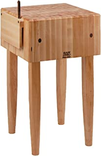 John Boos Block Maple Wood End Grain Solid Butcher Block Table with Side Knife Slot, 18 Inches x 18 Inches x 10 Inch Top, 34 Inches Tall, Natural Maple Legs
