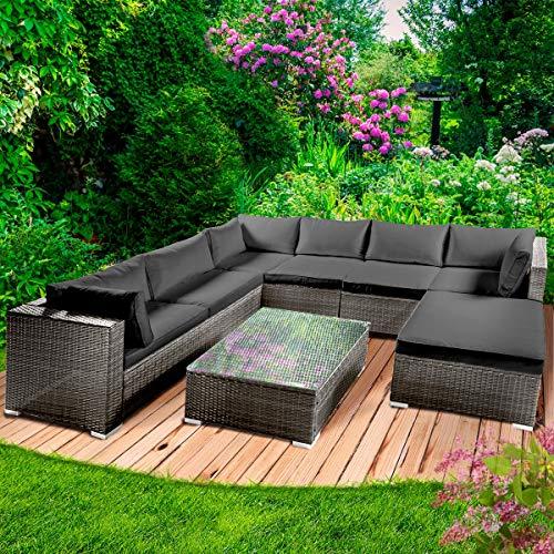 BRAST Poly Rattan Gartenmöbel Lounge Set 14 Modelle 3 Farben 4-12 Personen Aluminium Sitzgruppe Luxus Anthrazitgrau