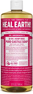 Dr. Bronner's - Pure-Castile Liquid Soap (Rose, 32 ounce) - Made with Organic Oils, 18-in-1 Uses: Face, Body, Hair, Laundry, Pets & Dishes, Concentrated, Vegan, Non-GMO