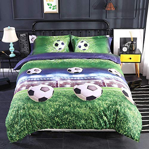 Alicemall 3D Boys Bedding Sets Full Soccer Ball/ Football 100% Polyester Kids Duvet Cover Flat Sheet Pillow Cases Bed Sets, No Comforter (Full)