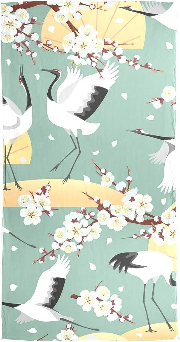 AUUXVA Fashion Scarf Japanese Floral Cherry Blossom Cranes Long Lightweight Sunscreen Scarf Shawl Wrap Muffler Neckerchief for Women Men