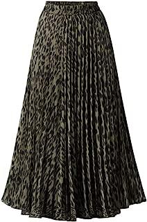 Women Leopard Printed High Waist Pleated Swing Long Skirts