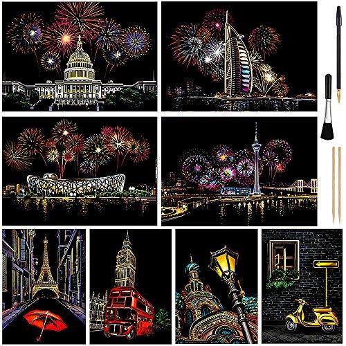 Scratch Art for Kids & Adult, Rainbow Engraving Painting Landscape Scratchboard(A4) Crafts Set: 8 Sheets 4 Tools - Congress Building, Burj Al Arab, Eiffel Tower, Big Ben, Moscow(Fireworks/Building)