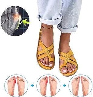 XLDF Sandales orthopédiques pour femmes, Sandales d'été Plate-forme Correction des orteils Pantoufle de plage Slip confortable sur tongs Sandales Hallux valgus, C, 38