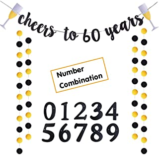 Trgowaul Cheers to 60 Years Gold Glitter Banner for Adult 60th Birthday Party Wedding Anniversary Party Decorations