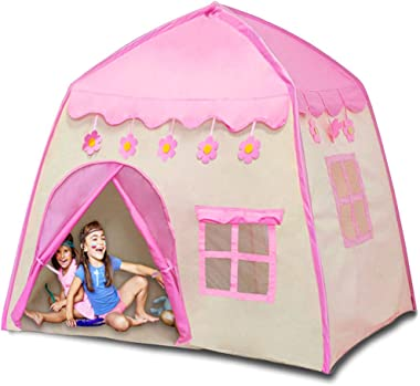 Princess Castle Play Tent with Lights Kids Teepee Tent Large Children Playhouse Oxford Fabric Children Playhouse for Indoor O