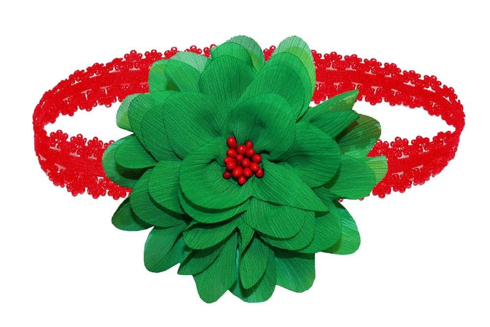 WD2U Baby Girls Christmas Green Chiffon Red Beaded Flower Hair Bow Headband USA